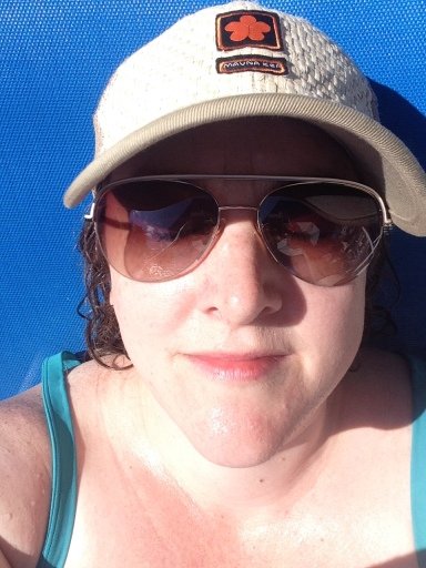Getting my tan...er pink on.