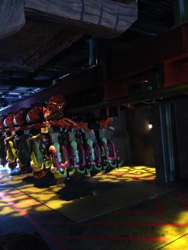 The seats for the Dragon Challenge Roller Coaster